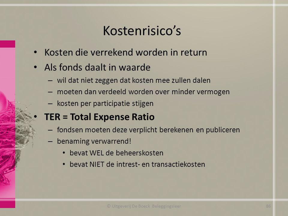 Kostenrisico's Kosten die verrekend worden in return Als fonds daalt in waarde – wil dat niet zeggen dat kosten mee zullen dalen – moeten dan verdeeld