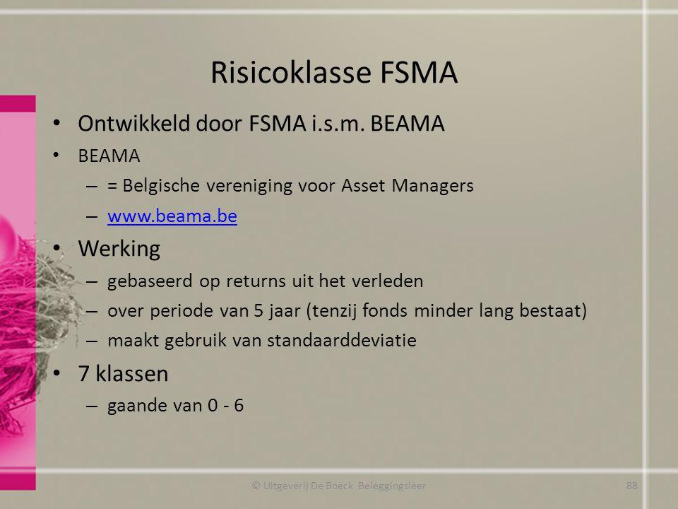 Risicoklasse FSMA Ontwikkeld door FSMA i.s.m. BEAMA BEAMA – = Belgische vereniging voor Asset Managers – www.beama.be www.beama.be Werking – gebaseerd