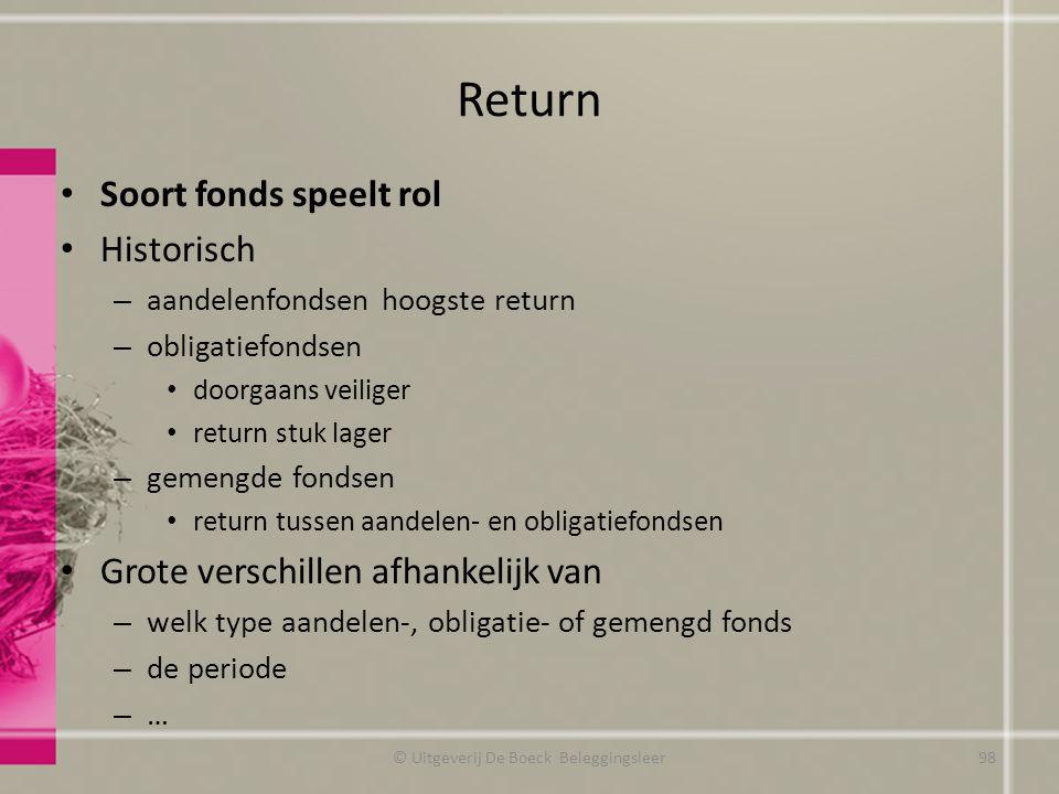 Return Soort fonds speelt rol Historisch – aandelenfondsen hoogste return – obligatiefondsen doorgaans veiliger return stuk lager – gemengde fondsen r
