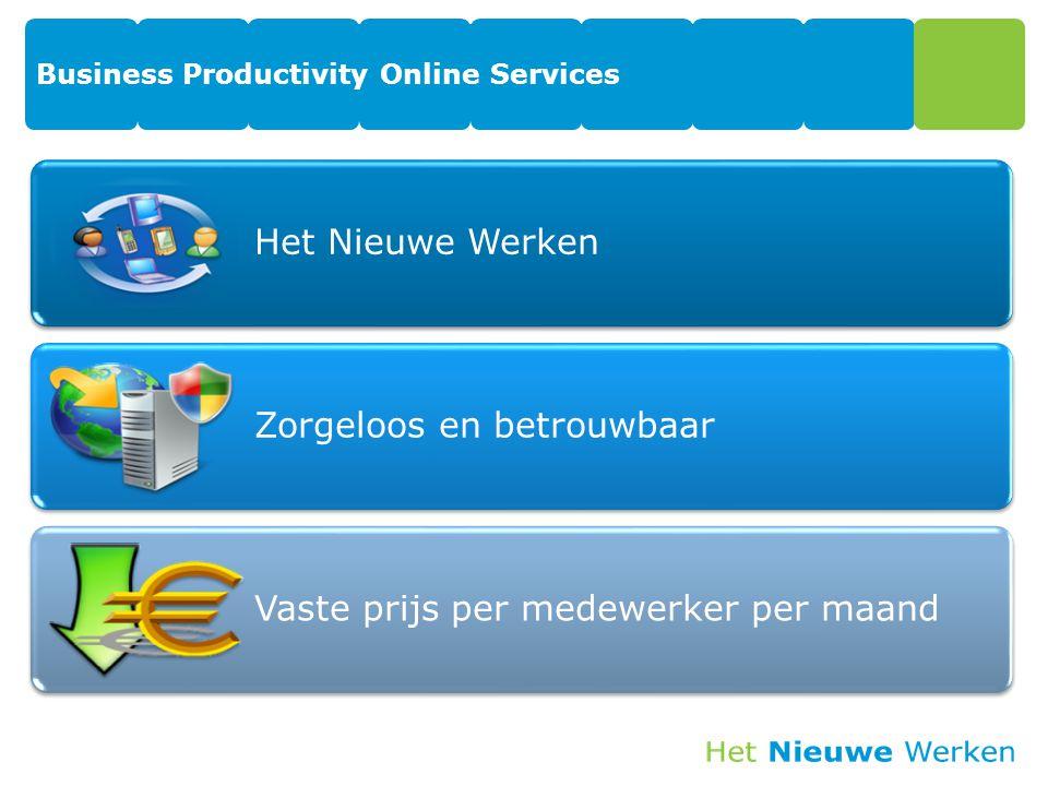 Business Productivity Online Services Het Nieuwe Werken Zorgeloos en betrouwbaar Vaste prijs per medewerker per maand