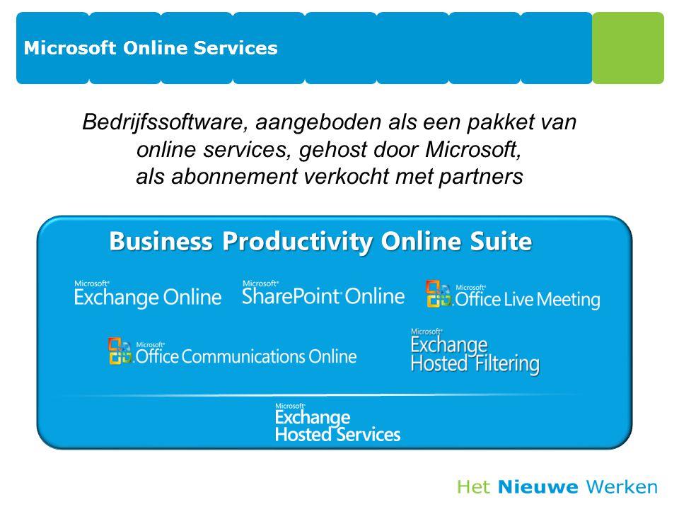 Microsoft Online Services Business Productivity Online Suite Bedrijfssoftware, aangeboden als een pakket van online services, gehost door Microsoft, als abonnement verkocht met partners