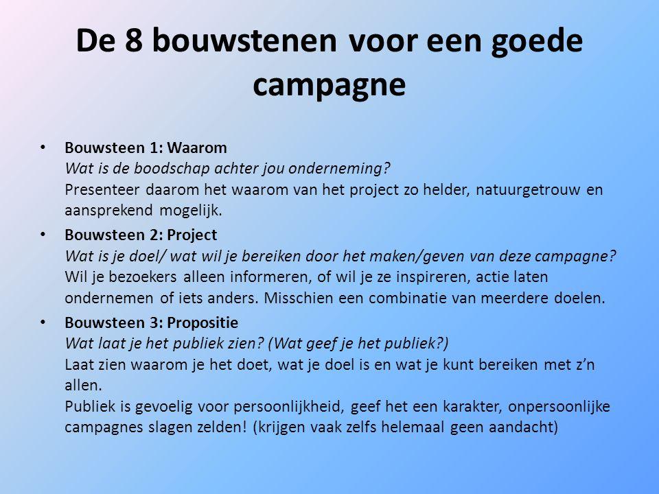 De 8 bouwstenen voor een goede campagne Bouwsteen 1: Waarom Wat is de boodschap achter jou onderneming? Presenteer daarom het waarom van het project z