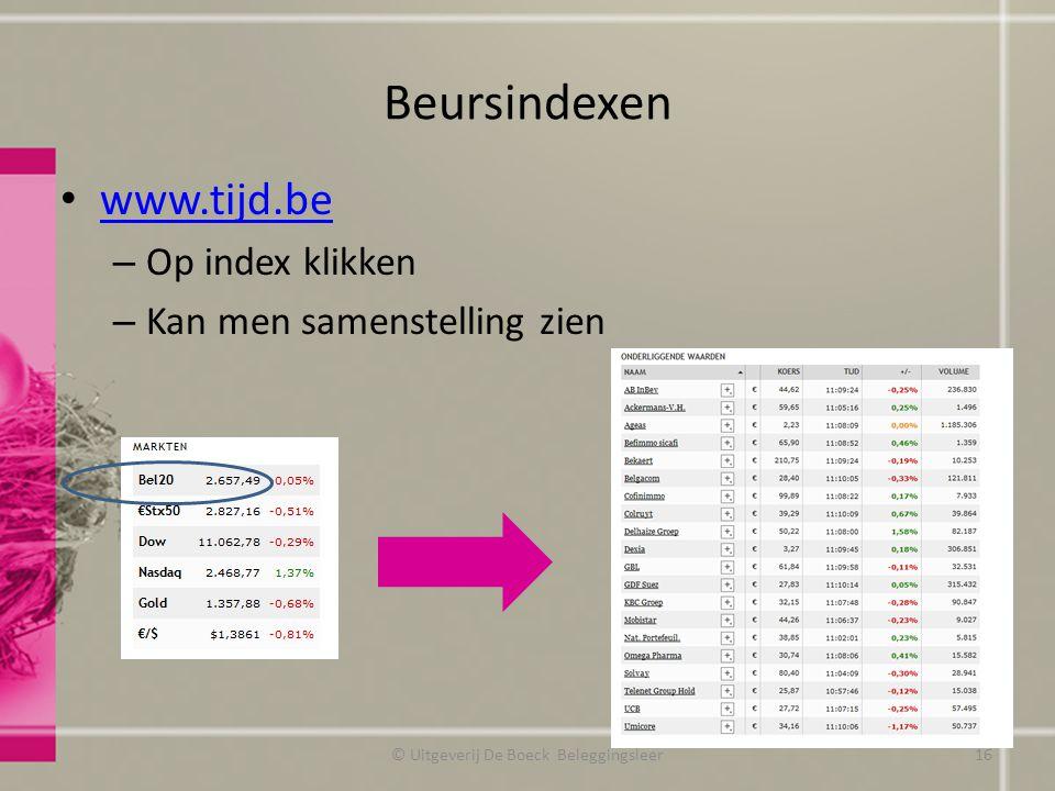 Beursindexen www.tijd.be – Op index klikken – Kan men samenstelling zien © Uitgeverij De Boeck Beleggingsleer16
