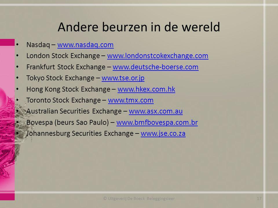 Andere beurzen in de wereld Nasdaq – www.nasdaq.comwww.nasdaq.com London Stock Exchange – www.londonstcokexchange.comwww.londonstcokexchange.com Frank