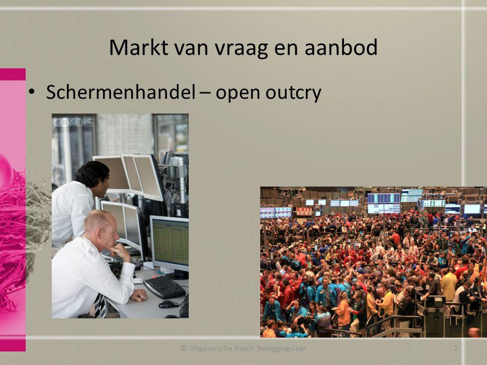Markt van vraag en aanbod Schermenhandel – open outcry © Uitgeverij De Boeck Beleggingsleer2
