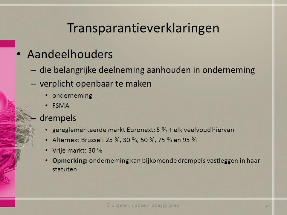 Transparantieverklaringen Aandeelhouders – die belangrijke deelneming aanhouden in onderneming – verplicht openbaar te maken onderneming FSMA – drempe