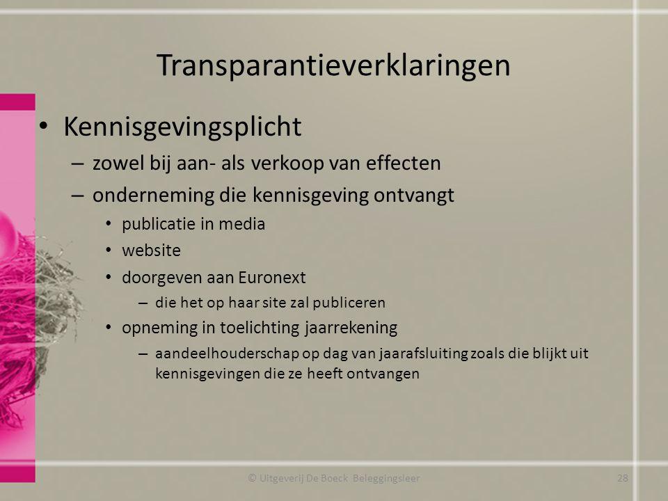 Transparantieverklaringen Kennisgevingsplicht – zowel bij aan- als verkoop van effecten – onderneming die kennisgeving ontvangt publicatie in media we