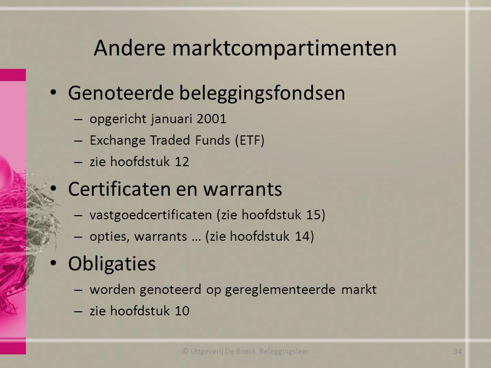 Andere marktcompartimenten Genoteerde beleggingsfondsen – opgericht januari 2001 – Exchange Traded Funds (ETF) – zie hoofdstuk 12 Certificaten en warr
