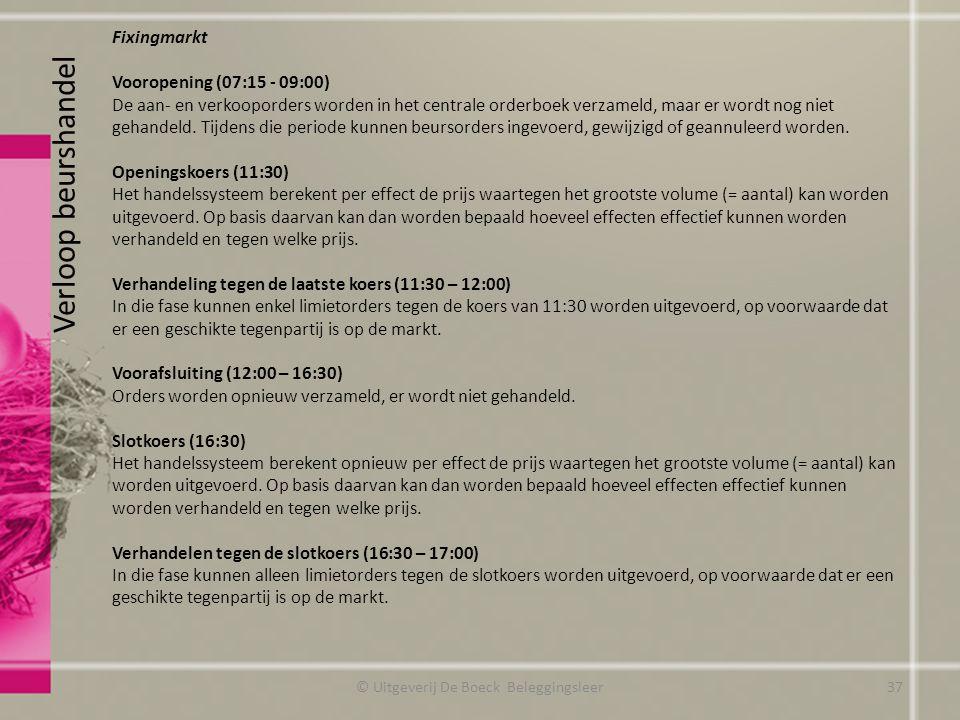 Verloop beurshandel Fixingmarkt Vooropening (07:15 - 09:00) De aan- en verkooporders worden in het centrale orderboek verzameld, maar er wordt nog nie