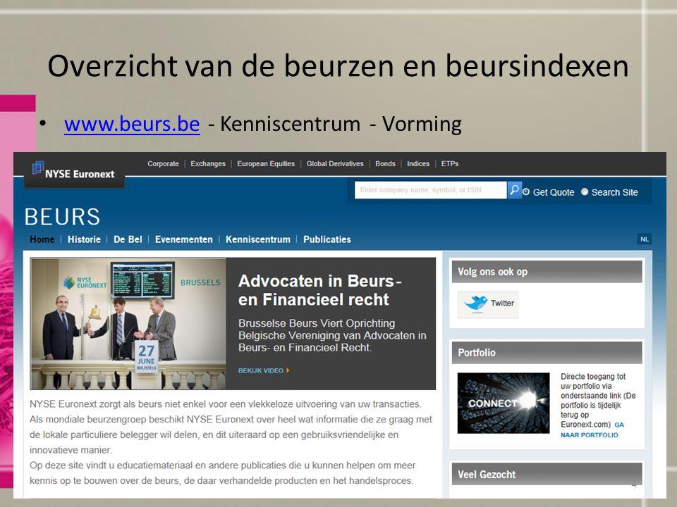 Overzicht van de beurzen en beursindexen www.beurs.be - Kenniscentrum - Vorming www.beurs.be © Uitgeverij De Boeck Beleggingsleer4