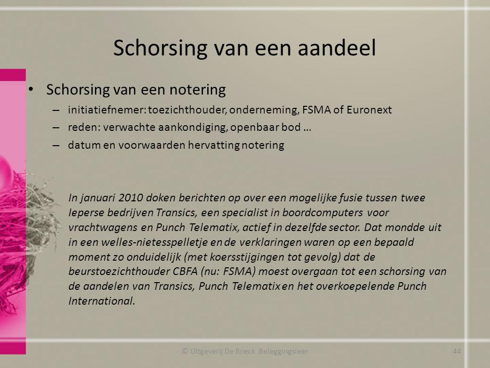 Schorsing van een aandeel Schorsing van een notering – initiatiefnemer: toezichthouder, onderneming, FSMA of Euronext – reden: verwachte aankondiging,