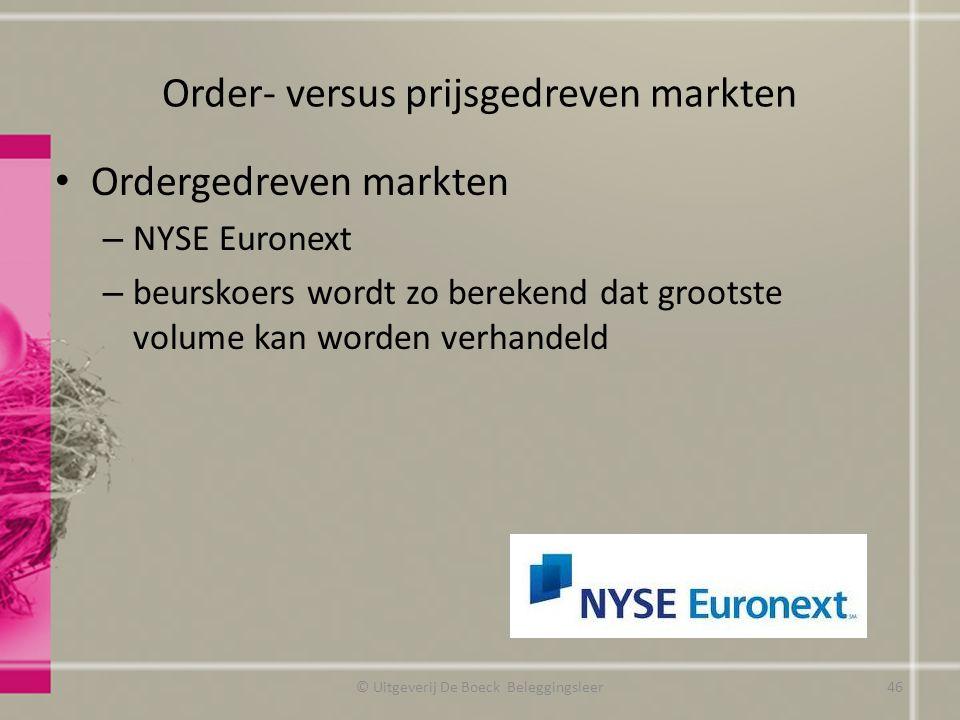 Order- versus prijsgedreven markten Ordergedreven markten – NYSE Euronext – beurskoers wordt zo berekend dat grootste volume kan worden verhandeld © U