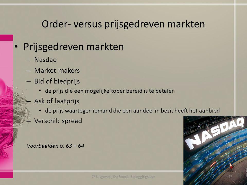 Order- versus prijsgedreven markten Prijsgedreven markten – Nasdaq – Market makers – Bid of biedprijs de prijs die een mogelijke koper bereid is te be
