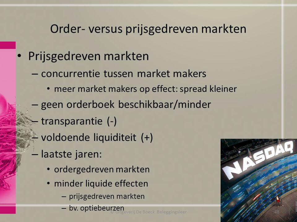 Order- versus prijsgedreven markten Prijsgedreven markten – concurrentie tussen market makers meer market makers op effect: spread kleiner – geen orde
