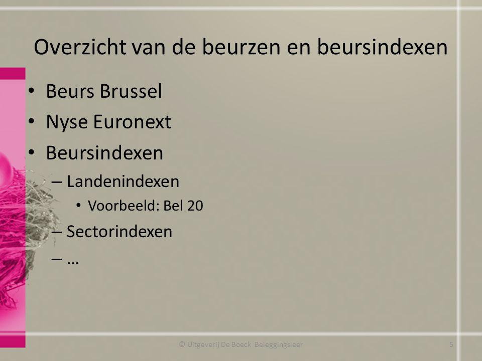 Overzicht van de beurzen en beursindexen Beurs Brussel Nyse Euronext Beursindexen – Landenindexen Voorbeeld: Bel 20 – Sectorindexen – … © Uitgeverij D