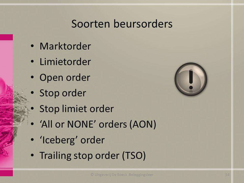 Soorten beursorders Marktorder Limietorder Open order Stop order Stop limiet order 'All or NONE' orders (AON) 'Iceberg' order Trailing stop order (TSO