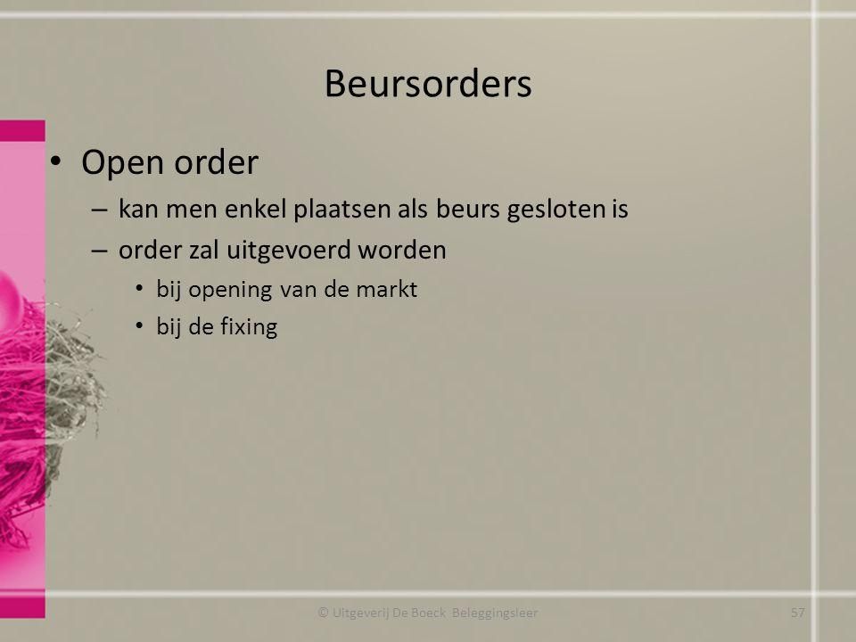 Beursorders Open order – kan men enkel plaatsen als beurs gesloten is – order zal uitgevoerd worden bij opening van de markt bij de fixing © Uitgeveri