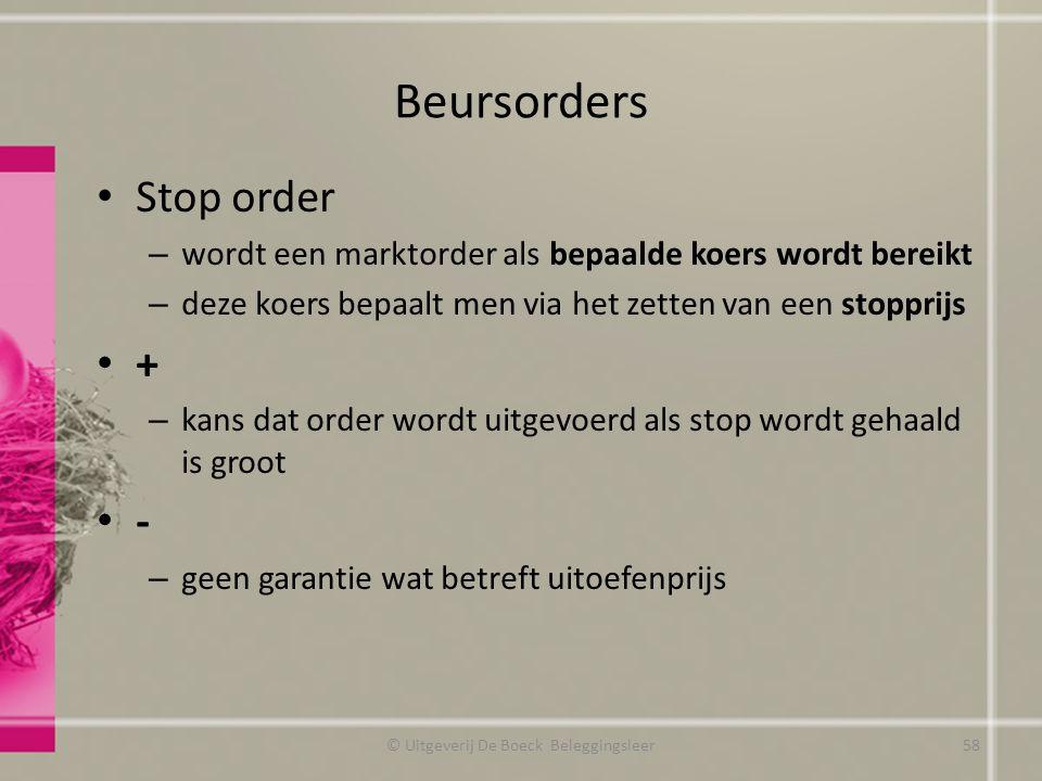 Beursorders Stop order – wordt een marktorder als bepaalde koers wordt bereikt – deze koers bepaalt men via het zetten van een stopprijs + – kans dat