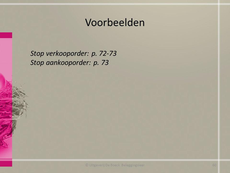 Voorbeelden © Uitgeverij De Boeck Beleggingsleer Stop verkooporder: p. 72-73 Stop aankooporder: p. 73 60
