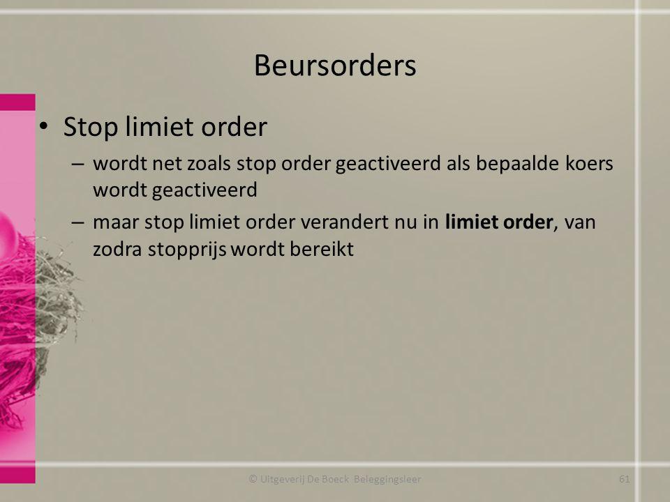 Beursorders Stop limiet order – wordt net zoals stop order geactiveerd als bepaalde koers wordt geactiveerd – maar stop limiet order verandert nu in l