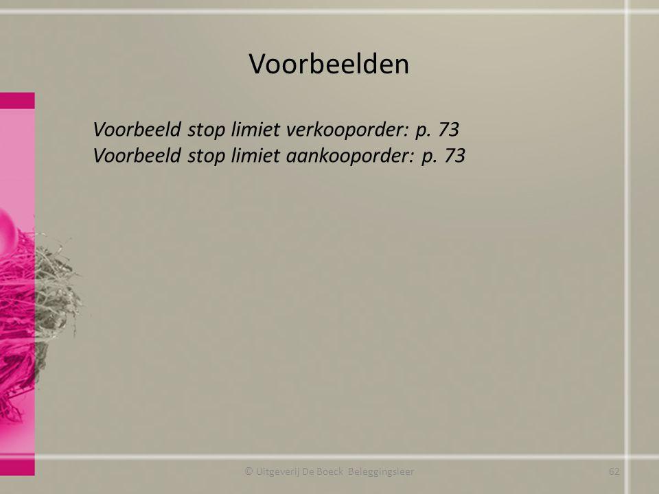 Voorbeelden © Uitgeverij De Boeck Beleggingsleer Voorbeeld stop limiet verkooporder: p. 73 Voorbeeld stop limiet aankooporder: p. 73 62