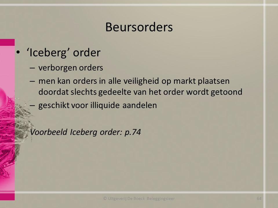 Beursorders 'Iceberg' order – verborgen orders – men kan orders in alle veiligheid op markt plaatsen doordat slechts gedeelte van het order wordt geto