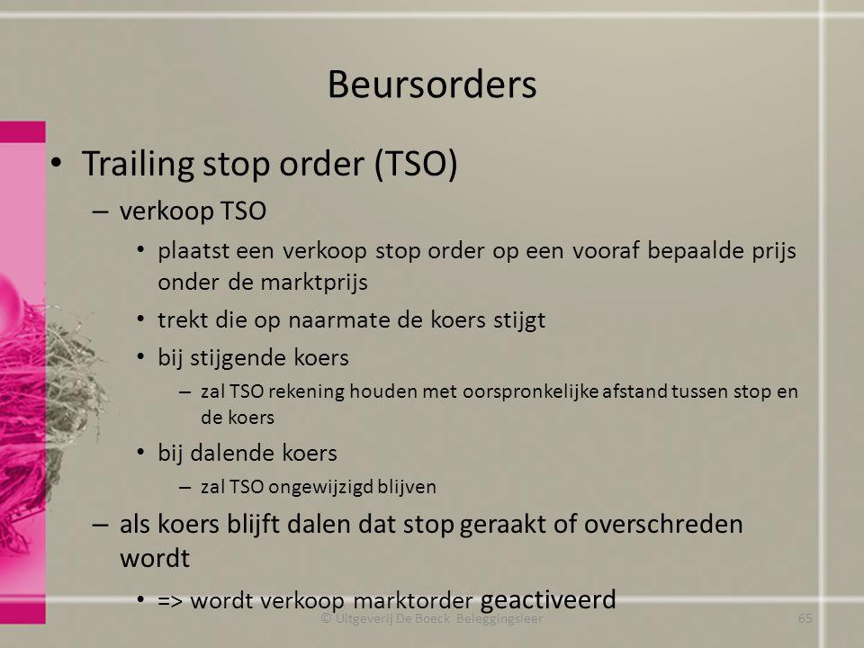 Beursorders Trailing stop order (TSO) – verkoop TSO plaatst een verkoop stop order op een vooraf bepaalde prijs onder de marktprijs trekt die op naarm