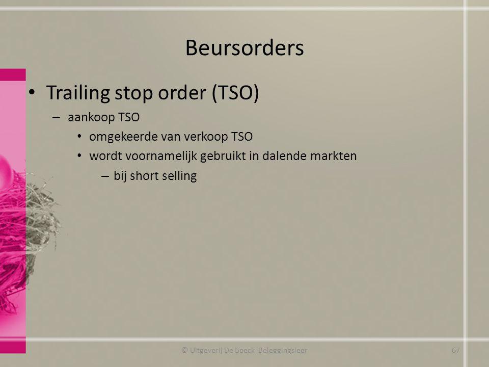 Beursorders Trailing stop order (TSO) – aankoop TSO omgekeerde van verkoop TSO wordt voornamelijk gebruikt in dalende markten – bij short selling © Ui