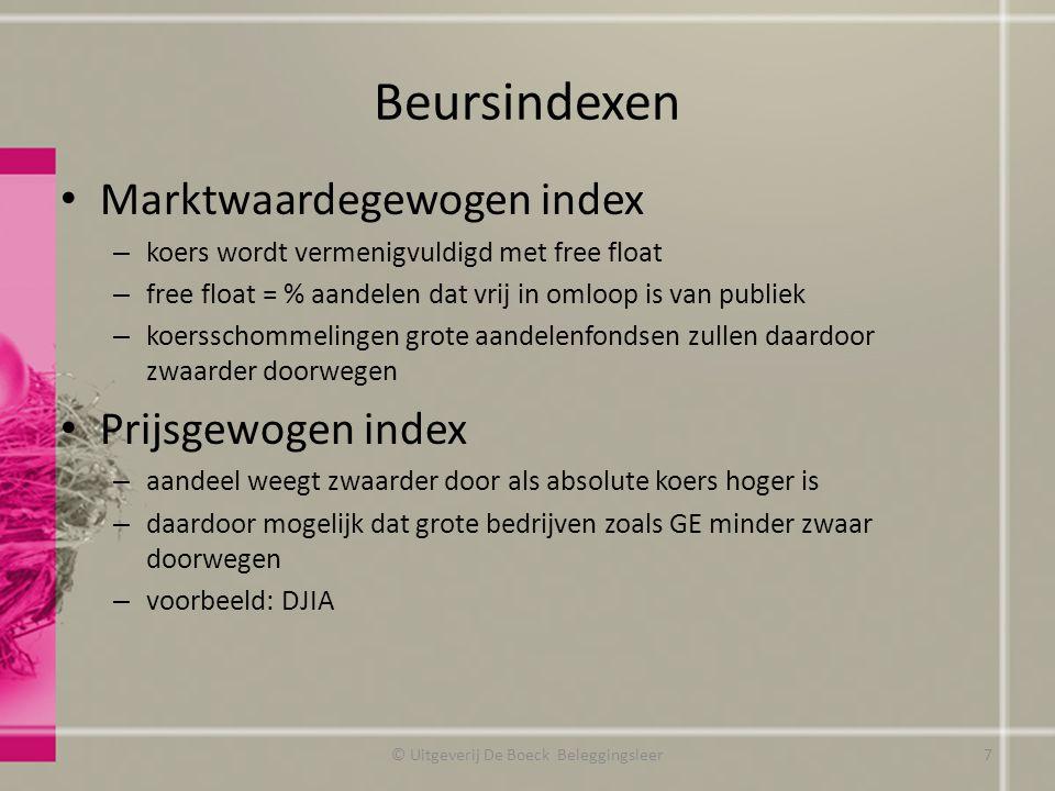 Beursindexen Marktwaardegewogen index – koers wordt vermenigvuldigd met free float – free float = % aandelen dat vrij in omloop is van publiek – koers