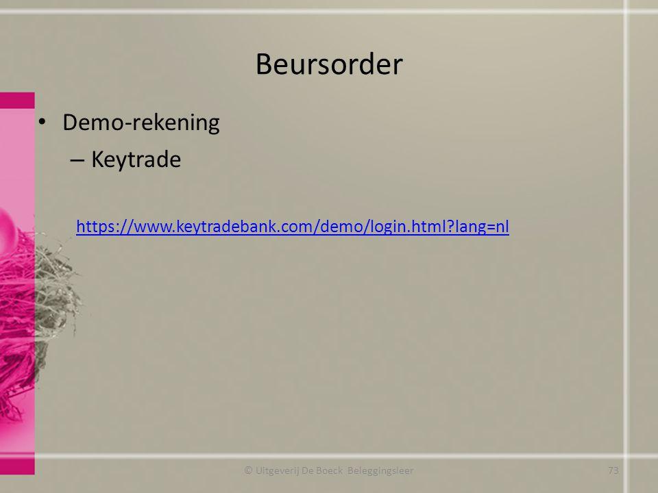 Beursorder Demo-rekening – Keytrade https://www.keytradebank.com/demo/login.html?lang=nl © Uitgeverij De Boeck Beleggingsleer73