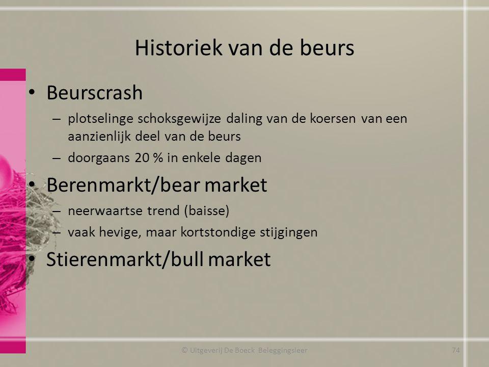 Historiek van de beurs Beurscrash – plotselinge schoksgewijze daling van de koersen van een aanzienlijk deel van de beurs – doorgaans 20 % in enkele d