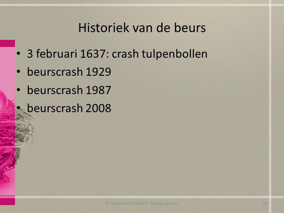 Historiek van de beurs 3 februari 1637: crash tulpenbollen beurscrash 1929 beurscrash 1987 beurscrash 2008 © Uitgeverij De Boeck Beleggingsleer76