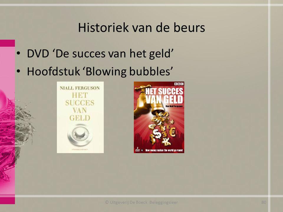 Historiek van de beurs DVD 'De succes van het geld' Hoofdstuk 'Blowing bubbles' © Uitgeverij De Boeck Beleggingsleer80