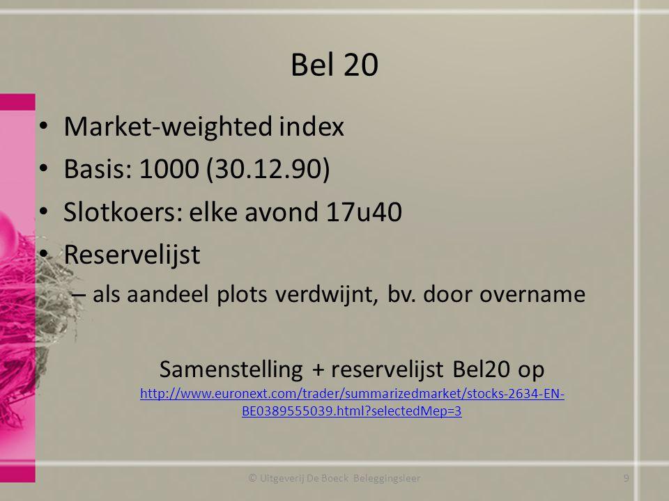 Bel 20 Market-weighted index Basis: 1000 (30.12.90) Slotkoers: elke avond 17u40 Reservelijst – als aandeel plots verdwijnt, bv. door overname Samenste