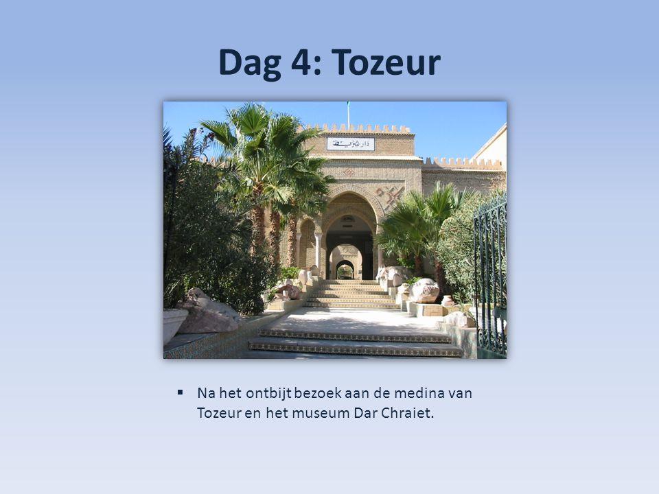 Dag 4: Tozeur  Na het ontbijt bezoek aan de medina van Tozeur en het museum Dar Chraiet.