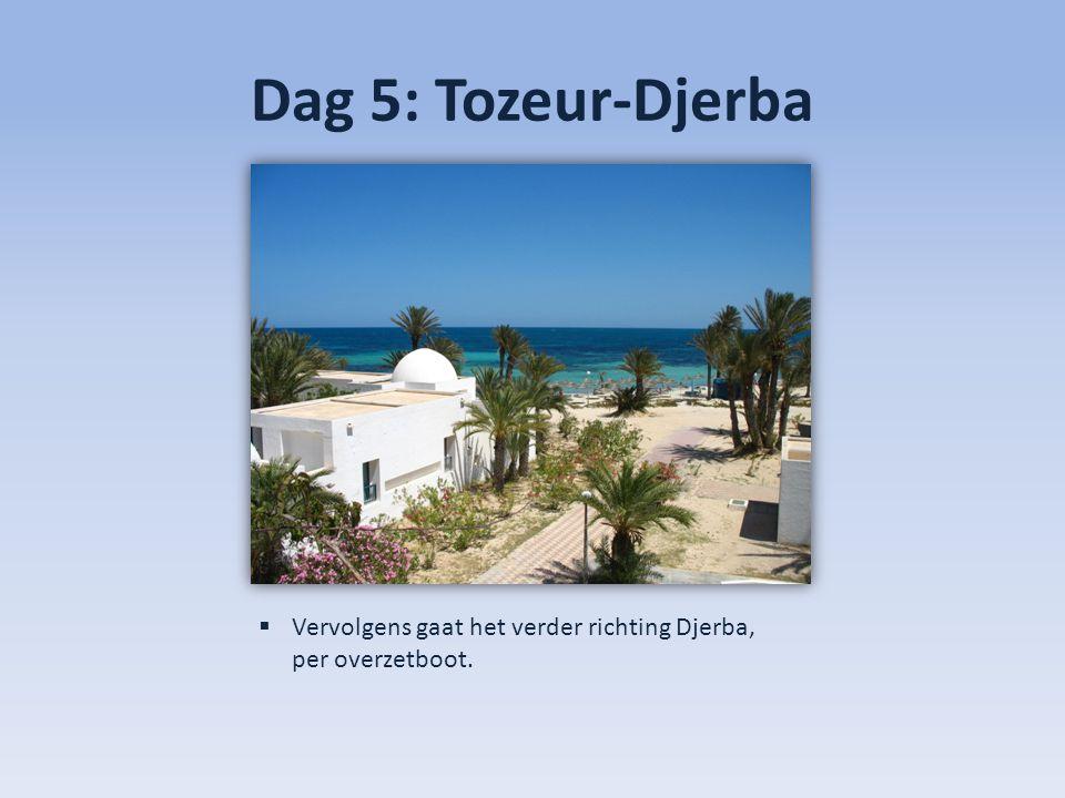 Dag 5: Tozeur-Djerba  Vervolgens gaat het verder richting Djerba, per overzetboot.
