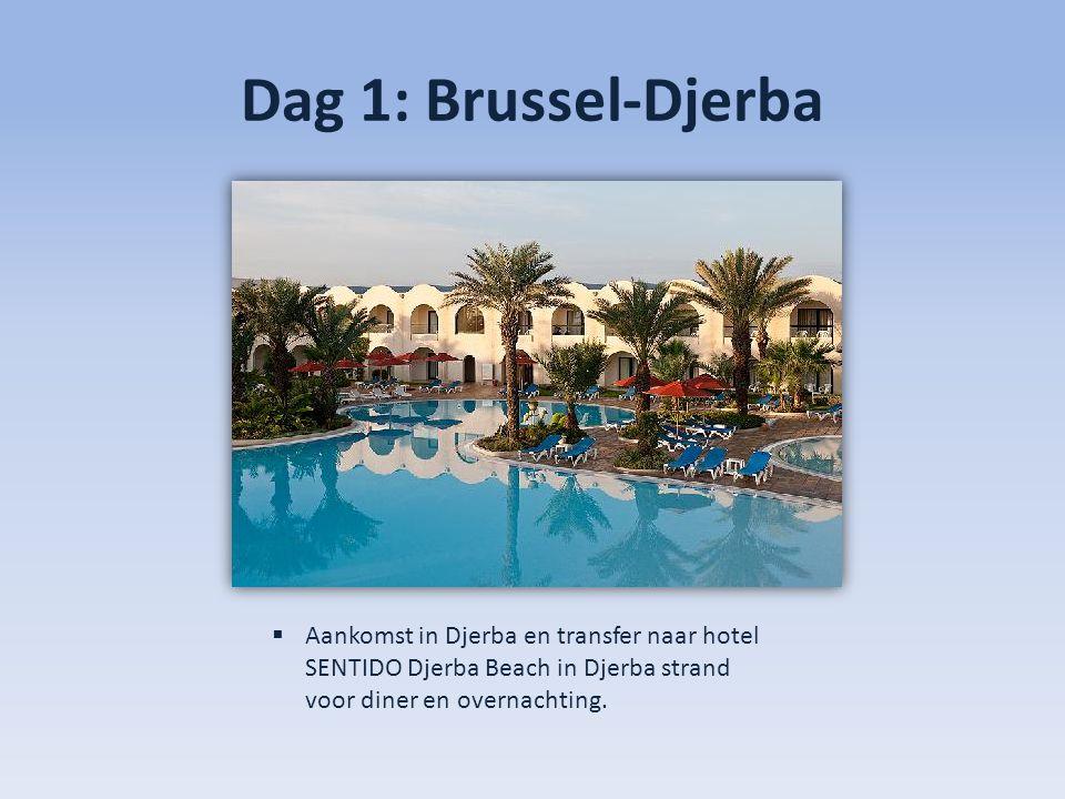 Dag 1: Brussel-Djerba  Aankomst in Djerba en transfer naar hotel SENTIDO Djerba Beach in Djerba strand voor diner en overnachting.