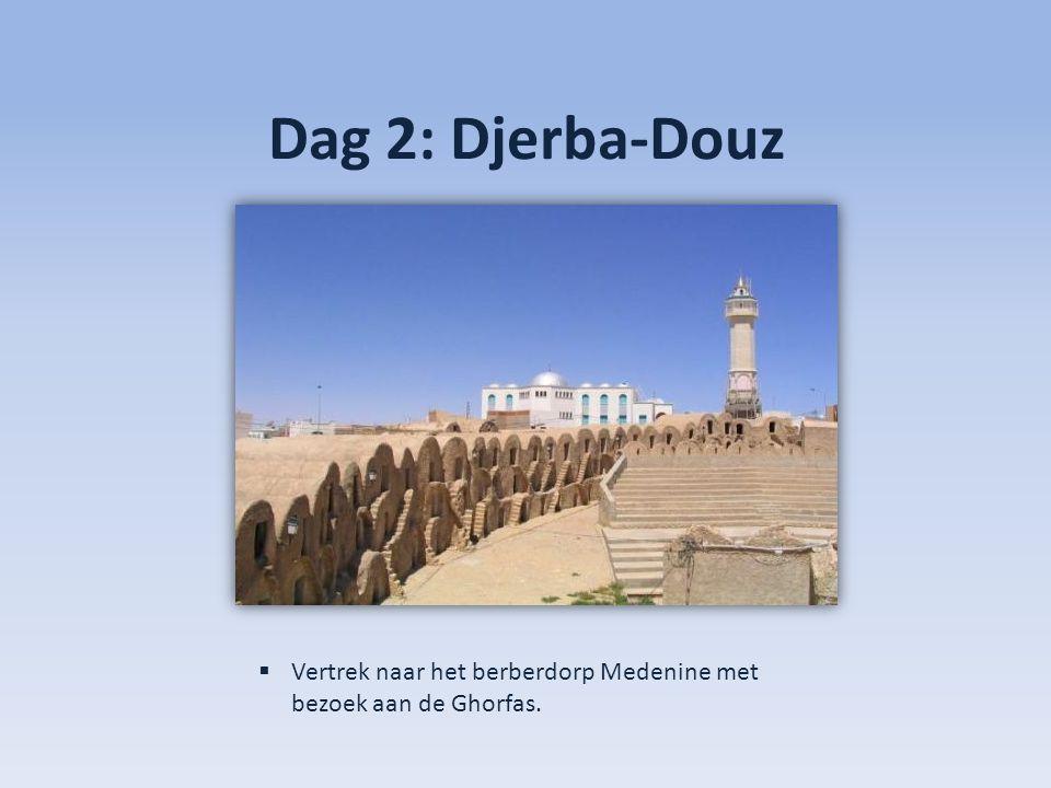Dag 2: Djerba-Douz  Vervolgens richting Tataouine, met bezoek aan Ksar Hadada waar 'Star Wars' werd gefilmd.