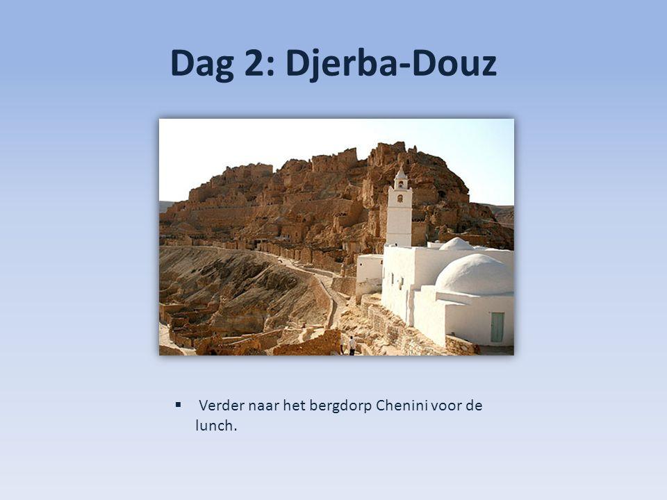 Dag 2: Djerba-Douz  Verder naar het bergdorp Chenini voor de lunch.