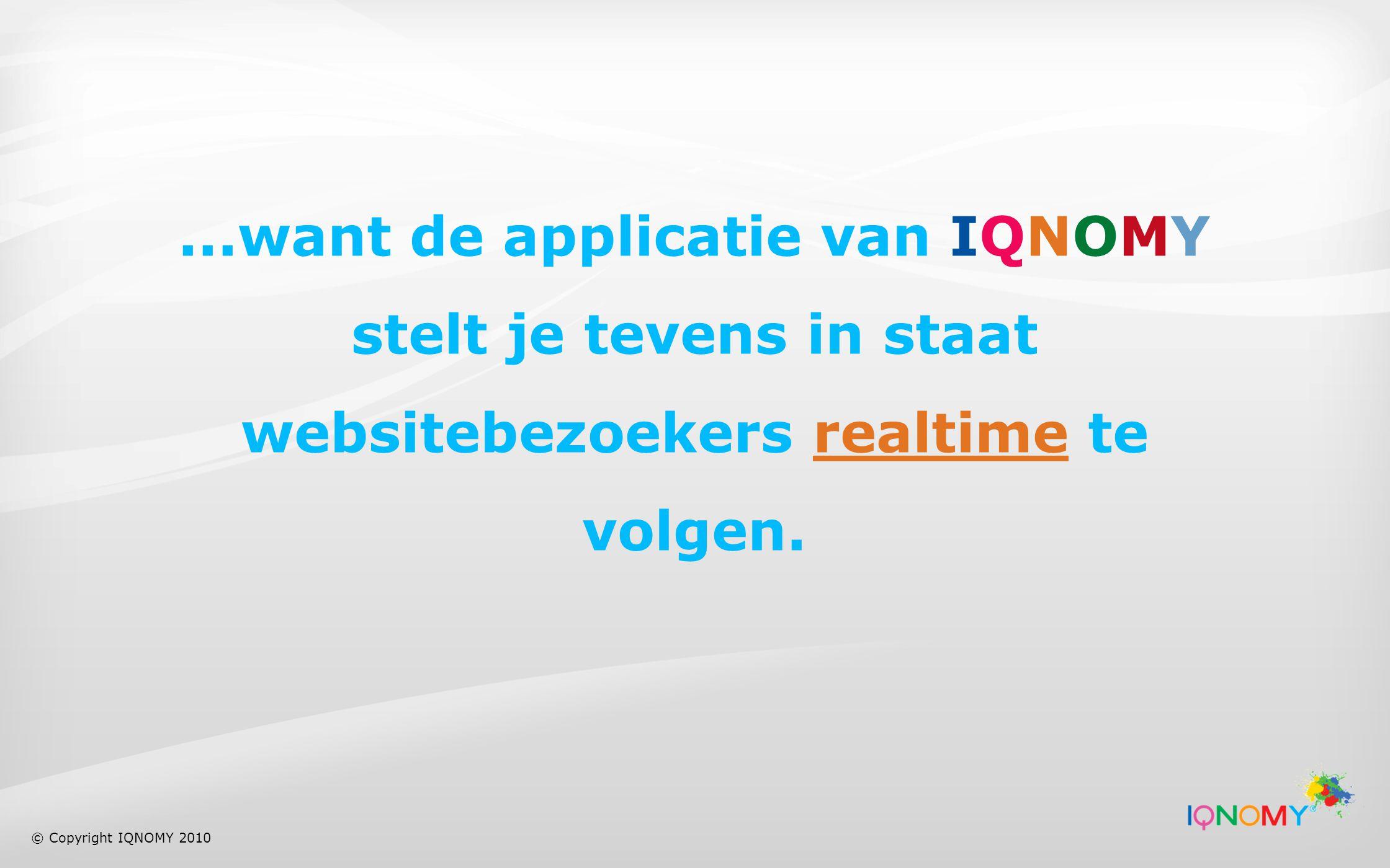 ...want de applicatie van IQNOMY stelt je tevens in staat websitebezoekers realtime te volgen.