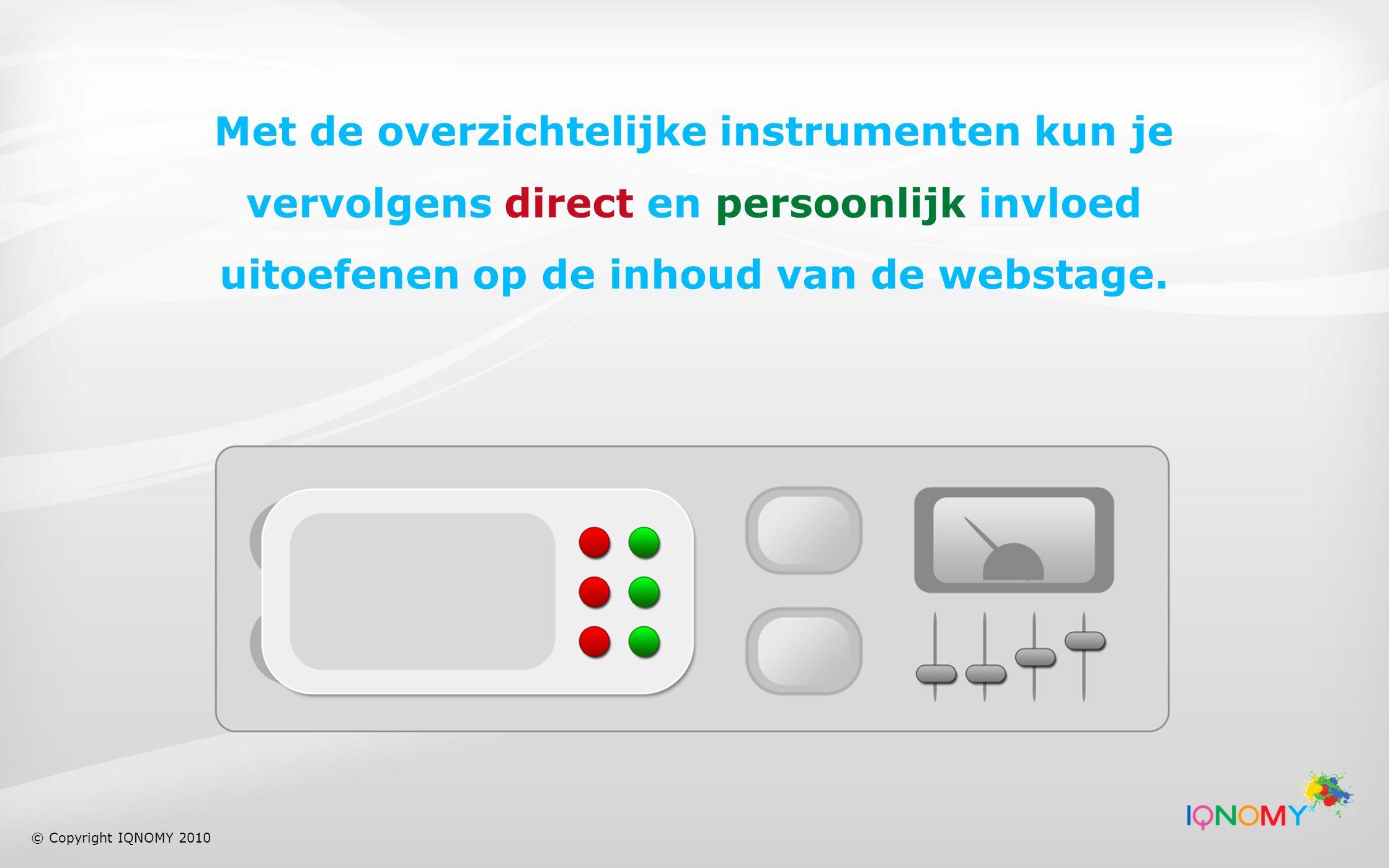 Met de overzichtelijke instrumenten kun je vervolgens direct en persoonlijk invloed uitoefenen op de inhoud van de webstage.