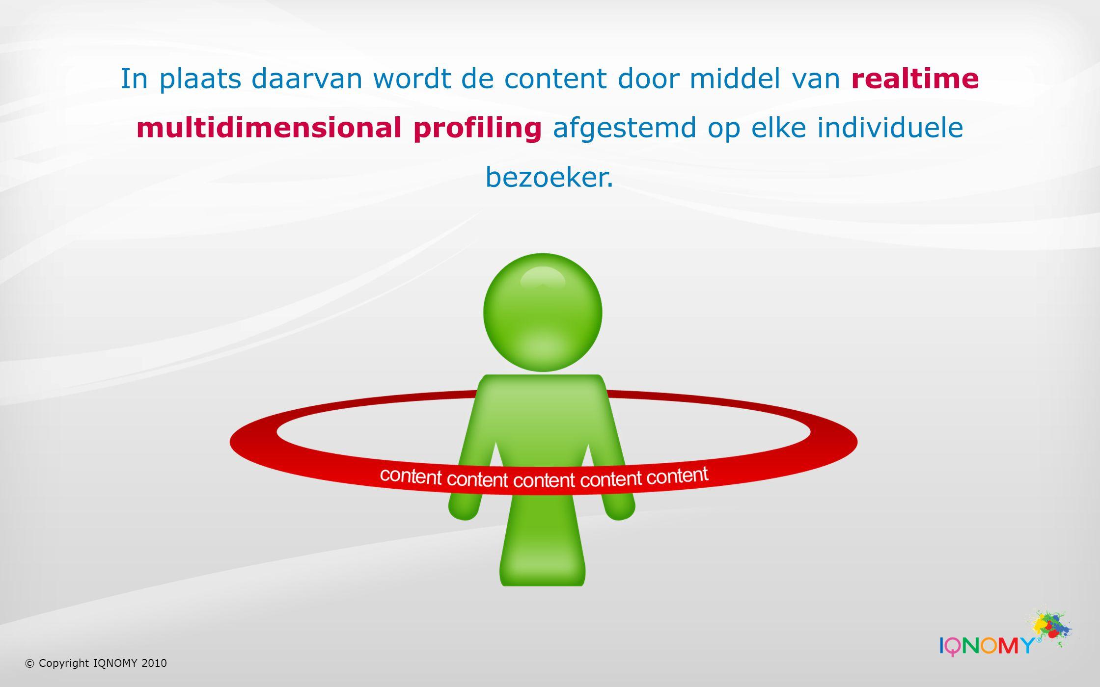 In plaats daarvan wordt de content door middel van realtime multidimensional profiling afgestemd op elke individuele bezoeker.