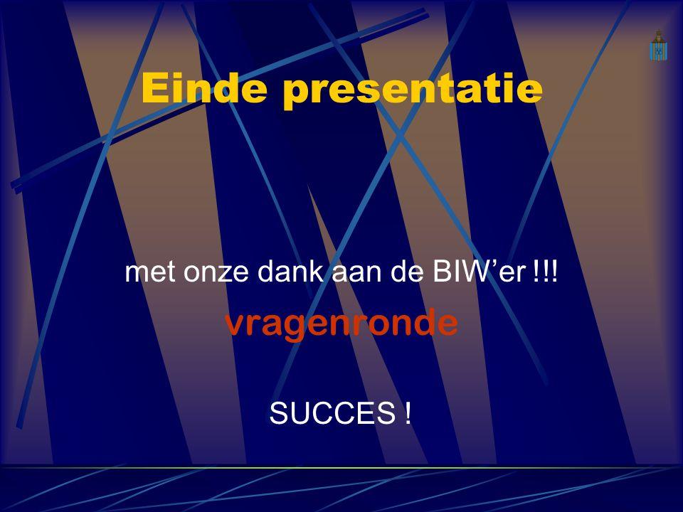 Einde presentatie met onze dank aan de BIW'er !!! vragenronde SUCCES !