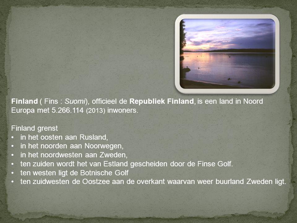 Finland ( Fins : Suomi), officieel de Republiek Finland, is een land in Noord Europa met 5.266.114 (2013) inwoners.