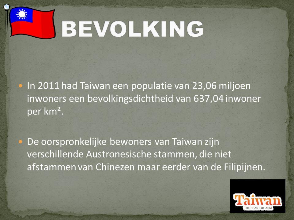 In 2011 had Taiwan een populatie van 23,06 miljoen inwoners een bevolkingsdichtheid van 637,04 inwoner per km².