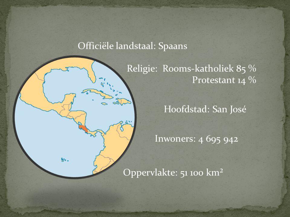 Officiële landstaal: Spaans Hoofdstad: San José Religie: Rooms-katholiek 85 % Protestant 14 % Oppervlakte: 51 100 km² Inwoners: 4 695 942