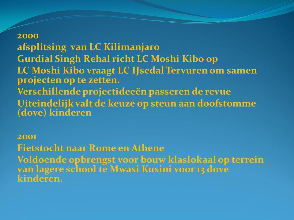 2000 afsplitsing van LC Kilimanjaro Gurdial Singh Rehal richt LC Moshi Kibo op LC Moshi Kibo vraagt LC IJsedal Tervuren om samen projecten op te zetten.