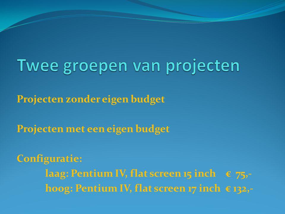 Projecten zonder eigen budget Projecten met een eigen budget Configuratie: laag: Pentium IV, flat screen 15 inch € 75,- hoog: Pentium IV, flat screen 17 inch € 132,-
