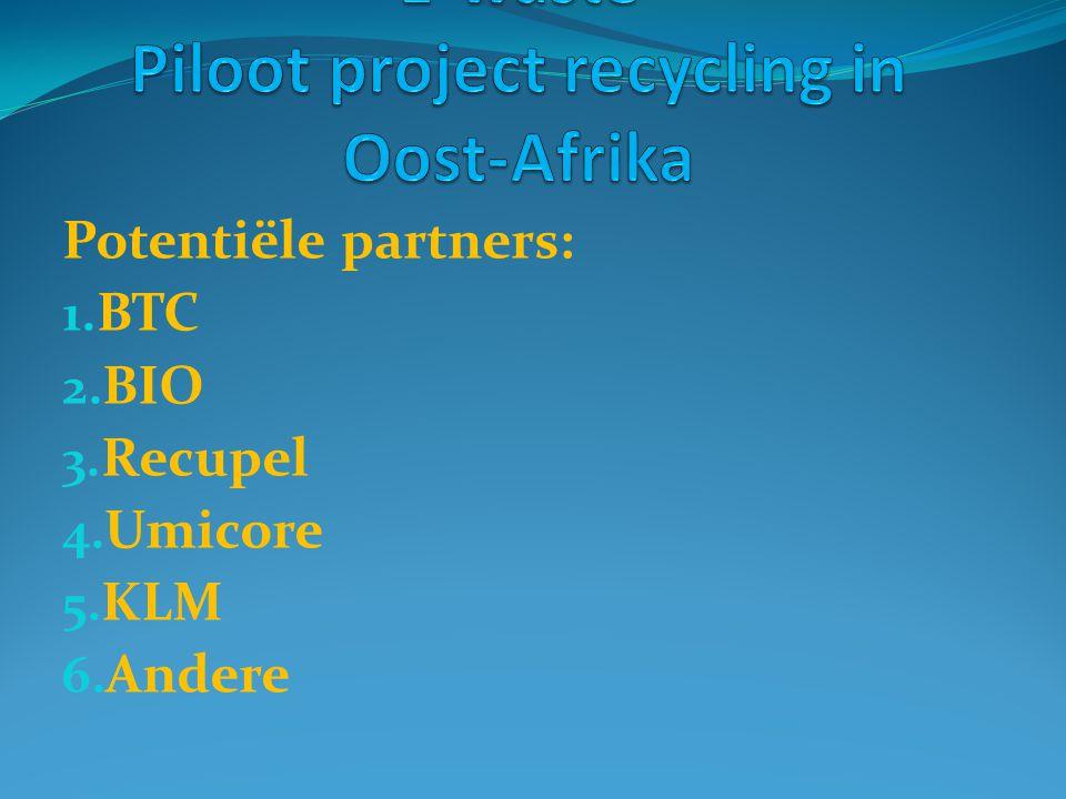 Potentiële partners: 1. BTC 2. BIO 3. Recupel 4. Umicore 5. KLM 6. Andere