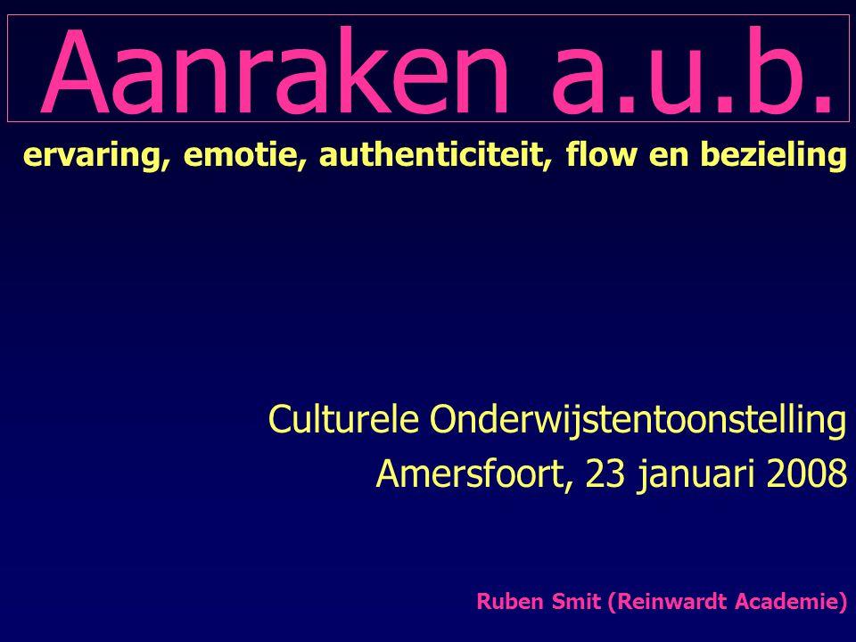 Aanraken a.u.b. ervaring, emotie, authenticiteit, flow en bezieling Culturele Onderwijstentoonstelling Amersfoort, 23 januari 2008 Ruben Smit (Reinwar